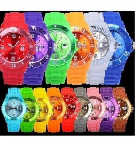 CLASSIC SILICONE RUBBER UNISEX JELLY WITH DATE WRIST WATCH FOR BOYS GIRLS